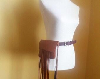 brown leather handbag, hip bag belt bag with fringe by Tuscada. Ready to ship.