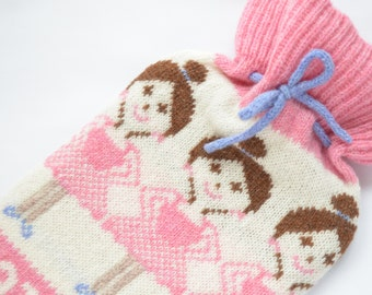 Personalised Knitted Ballerina Fairisle Hot Water Bottle Cover/Cosy