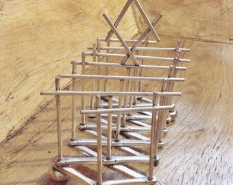 Antique Victorian Era Silver Plate Expanding Toast Rack in The Christopher Dresser Style