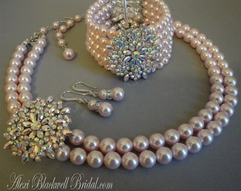 Complete Bridal Jewelry Set Pearl Necklace Bracelet Earrings Brooch Swarovski Pearls rhinestone wedding jewelry sets your choice of color