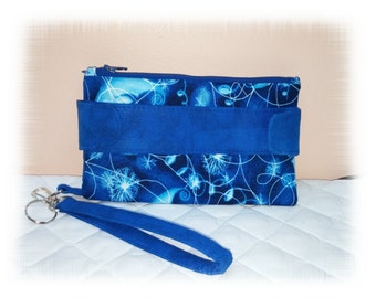 Celestial Wallet Clutch, Moon and Stars or Custom Colors , Swoon Bag, Della, Wristlet, Key Ring, Blue,