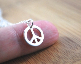 925 Sterling Silver Peace sign necklace modern necklace. mix and match layering necklace with peace symbol delicate and dainty