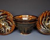 Pottery Ceramic Salad Bowl Dark Umber Miso Bowl