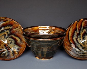 Set of 4 Pottery Bowls Ceramic Salad Bowl Dark Umber Miso Bowl