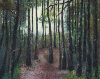 Original oil painting, Fall at Wildertse Duintjes, Essen, Belgium