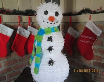 Snowman Pinata - Large Snowman Pinata - Christmas Party Pinata - Snowman Theme Party