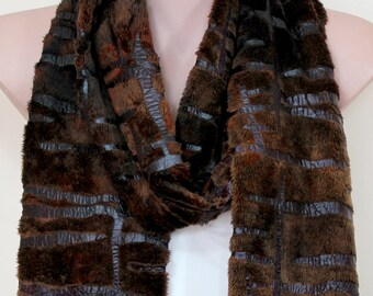 Faux Fur Scarf Shawl With Fringe - Warm Winter - Light to Dark Brown