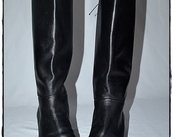 Vintage Black Leather Riding Boots With Lace Up Back Made In Italy 8B