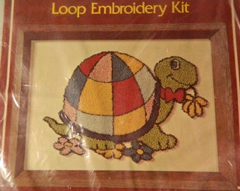 Vintage Boyle Turtle Punch Embroidery Kit - Rush n Punch - 1980s - Rainbow Turtle