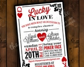 Printable Bridal Shower Invitation Design - Lucky in Love - Casino / Las Vegas / Poker Themed Couple's Bridal Shower Invitation Design