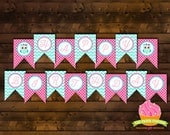Aqua Pink Owl Happy Birthday Banner - Chevron & Polka Dot Printable Banner (INSTANT DOWNLOAD) by The Paper Cupcake