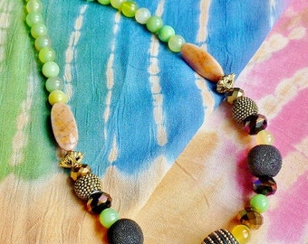 Chunky Tribal Exotic Crystal Necklace Green Brown Multicolored,  Resort, Beach, Cruise Jewelry