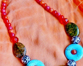 Chunky Exotic Necklace Semi-Precious Stones and Crystals. Beach, Cruise, Resort Wear Jewelry.