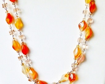 Red Carnelian Semi Precious Stone Necklace with Peach Pink Faceted Crystals- Wired in Silver
