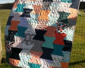 Modern quilt, sofa throw blanket, patchwork, home decor, cotton quilt