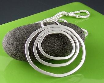 Sterling Silver Organic Oval Handmade Pendant