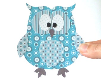 50% Off - Owl Decoration Printable - Turquoise Layered Paper Craft Embellishment, Paper Piecing