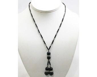 Wonderful 1930s Necklace - Black Glass Beads - 30s Deco Era Beaded Tassels - Art Deco Glamour - Lariat Necklace - Rhinestones - 42617