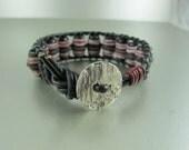 Unisex Tribal Bracelet, Black, Red, White Stripes, Recycled Handpainted Glass Beads, Greek Leather Cord, Iconic Ladder Bracelet, Adjustable.
