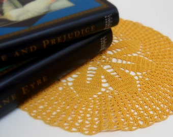 Harvest Gold Vintage Hand Crocheted Doily