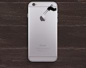 Apple Sushi, Chopsticks Hand Silhouette Vinyl iPhone Decal BAS-0245