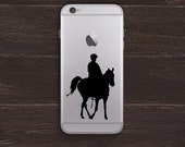 Riding Horse Silhouette Vinyl iPhone Decal BAS-0307