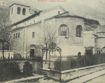 Antique French Postcard - St Laurent Church, Grenoble, France