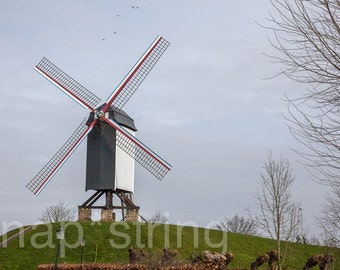 Windmill in Bruges Belgium Photography