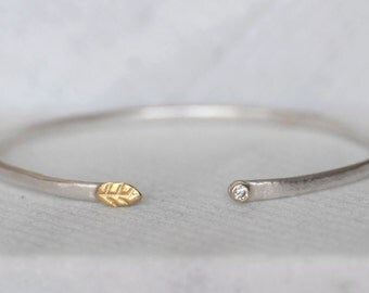 Diamond Leaf Cuff- Sterling and 18k Gold Diamond - Leaf and Bud Cuff