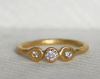 Diamond and Gold Lotus Wedding Ring - 18k Gold Engagement Band - Eco-Friendly Recycled Gold
