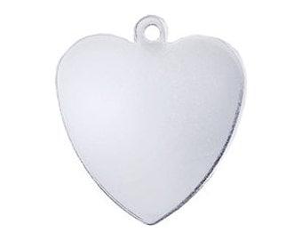 Sterling Silver Heart Charm, Gauge 20