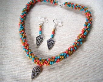 Jewelry Set Southwest Colors Spiral Rope Necklace and Earrings