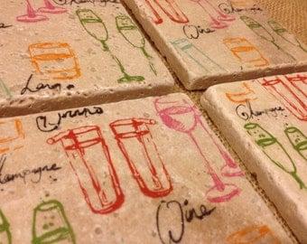 Drinks & Glasses - Natural Stone Tile Drink Coasters - Set of 4
