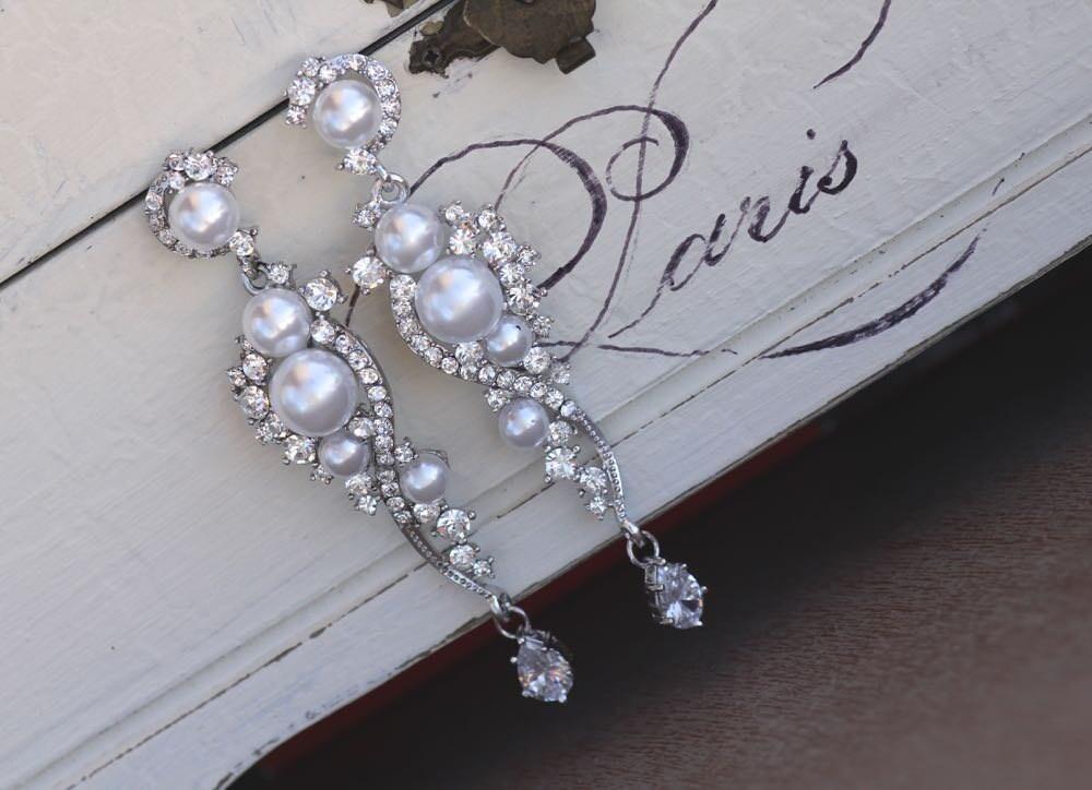 Pearl Bridal Earrings Crystal And Pearl Dangle Earrings