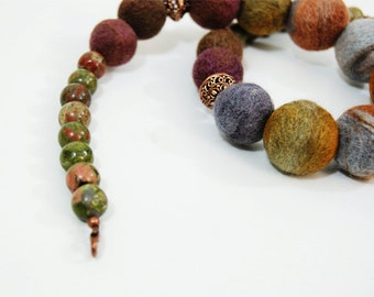 Evening Necklace Multicolor Necklace Olive Necklace Brown Necklace Grey Necklace