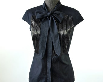 Dries Van Noten Blouse Vintage Black Designer Blouse with Gold Beading and Bow Neck size Medium