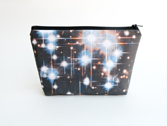 outer space makeup bag galaxy clutch wallet hubble image