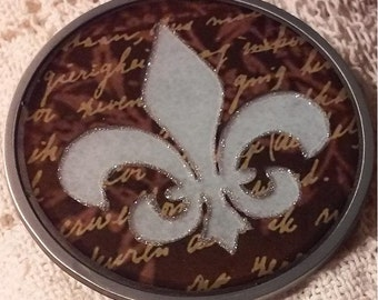 Light Blue Fleur De Lis Belt Buckle