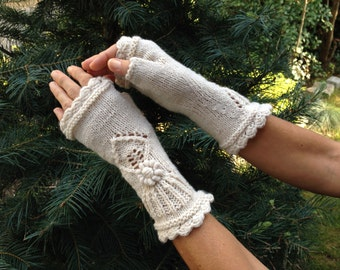 Handmade Fingerless Ivory Mitts - Cheer Up! by Dom Klary
