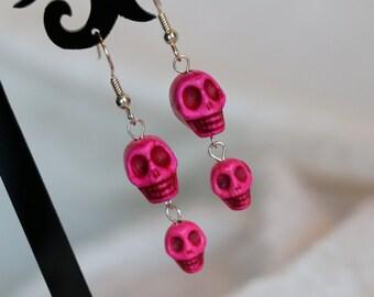 Pink Stone Skull Earrings