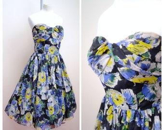 1950s Magnolia print crepe chiffon strapless dress / 50s boned evening dress - S