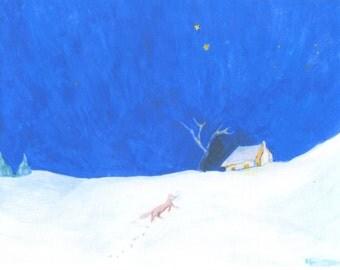 Fox in Snow Long Postcard