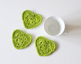 Drink coasters crochet with a green cotton, 3 heart  coasters, tea party decoration