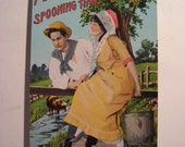 "Postcard ""Milking Time - Spooning Time."" Made in Germany. Love, Farm, Country, Rural, Pastoral Theme 1910s Post Card"