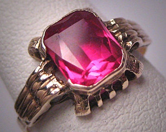 Antique Ruby Ring Vintage Art Deco Gold Wedding 1920 Engagement Retro