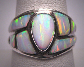 Vintage Opal Ring Designer Estate Jewelry Wedding - Anniversary Band