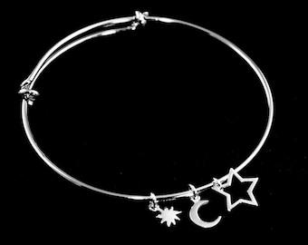 Bangle - Sun - Moon - Star Bangle Bracelet - Celestial Bracelet, Charm Bracelet, Stacking Jewelry