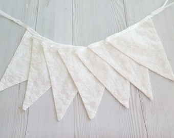 White wedding banner, wedding garland bunting, Wedding decor, white lace fabric banner, wedding decoration, Party decoration christmas flags