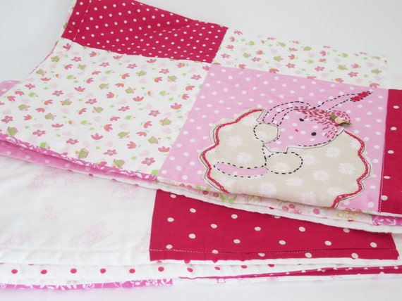 SALE  - baby girl ballerina quilt blanket , handmade quilts - Monogrammed baby quilt