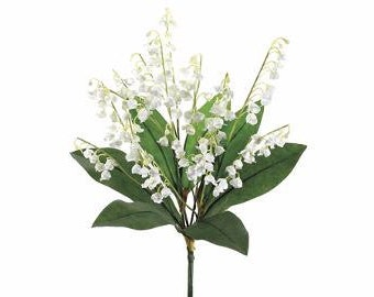 Artificial Flowers - 16 Inch Lily of the Valley Bush - Wedding Flowers, Wedding Bouquet
